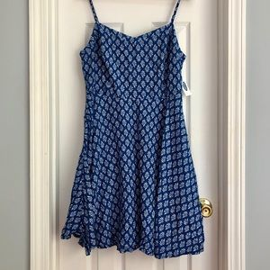 Blue & White Fit and Flare Cami Dress